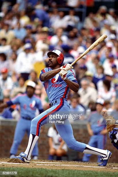 Andre Dawson of the Montreal Expos bats during an MLB game at Wrigley Field in Chicago Illinois Andre Dawson played for the Montreal Expos from...