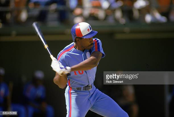Andre Dawson of the Montreal Expos swings during a 1986 season game against the San Diego Padres at Jack Murphy Stadium in San Diego California