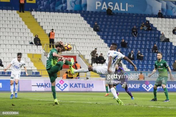 Andre de Castro Pereira of Kasimpasa SK Ertugrul Ersoy of Bursaspor Fode Koita of Kasimpasa SK goalkeeper Harun Tekin of Bursaspor Tomas Sivok of...