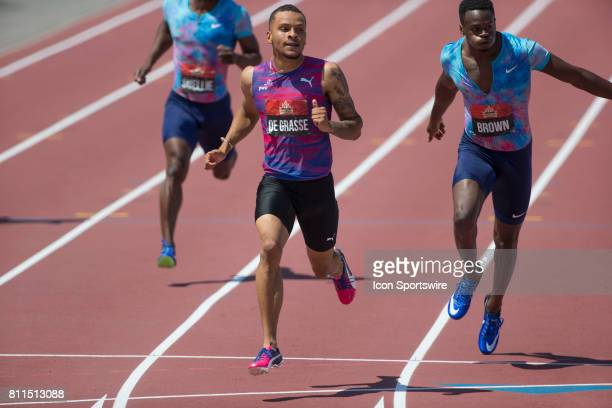 Andre de Grasse crosses the line to win the 200m national championship in a windy 1996 second at the Canadian Track and Field Championships on 9 July...