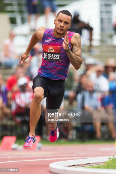 Andre de Grasse in the 200m semifinals at the Canadian Track and Field Championships on 8 July 2017 at the Terry Fox Athletic Facility in Ottawa...