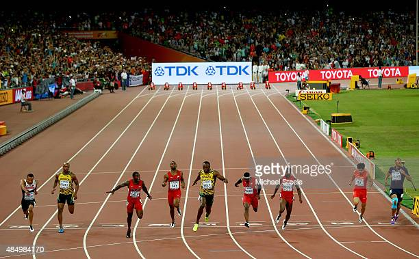 Andre De Grasse of Canada Asafa Powell of Jamaica Justin Gatlin of the United States Tyson Gay of the United States Usain Bolt of Jamaica Mike...