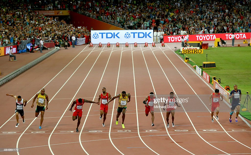 Andre De Grasse of Canada, <a gi-track='captionPersonalityLinkClicked' href=/galleries/search?phrase=Asafa+Powell&family=editorial&specificpeople=240116 ng-click='$event.stopPropagation()'>Asafa Powell</a> of Jamaica, <a gi-track='captionPersonalityLinkClicked' href=/galleries/search?phrase=Justin+Gatlin&family=editorial&specificpeople=162752 ng-click='$event.stopPropagation()'>Justin Gatlin</a> of the United States, <a gi-track='captionPersonalityLinkClicked' href=/galleries/search?phrase=Tyson+Gay&family=editorial&specificpeople=543306 ng-click='$event.stopPropagation()'>Tyson Gay</a> of the United States, <a gi-track='captionPersonalityLinkClicked' href=/galleries/search?phrase=Usain+Bolt&family=editorial&specificpeople=604196 ng-click='$event.stopPropagation()'>Usain Bolt</a> of Jamaica, Mike Rodgers of the United States, <a gi-track='captionPersonalityLinkClicked' href=/galleries/search?phrase=Trayvon+Bromell&family=editorial&specificpeople=13398662 ng-click='$event.stopPropagation()'>Trayvon Bromell</a> of the United States, Bingtian Su of China and <a gi-track='captionPersonalityLinkClicked' href=/galleries/search?phrase=Jimmy+Vicaut&family=editorial&specificpeople=7124608 ng-click='$event.stopPropagation()'>Jimmy Vicaut</a> of France cross the finish line in the Men's 100 metres final during day two of the 15th IAAF World Athletics Championships Beijing 2015 at Beijing National Stadium on August 23, 2015 in Beijing, China.