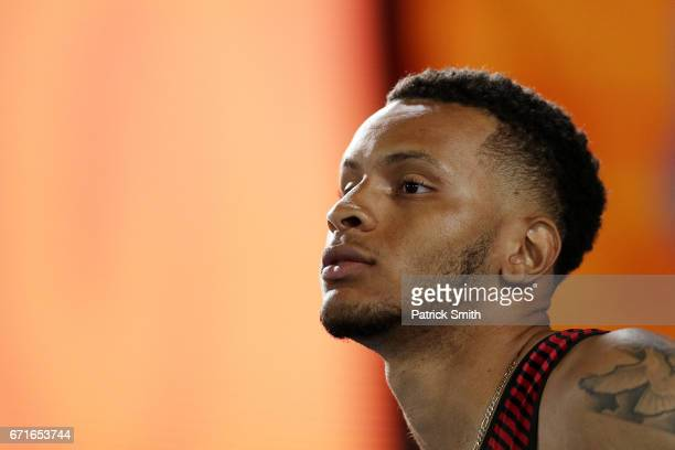 Andre De Grasse of Canada prepares to run in heat two of the Men's 4 x 100 Meters Relay during the IAAF/BTC World Relays Bahamas 2017 at Thomas...
