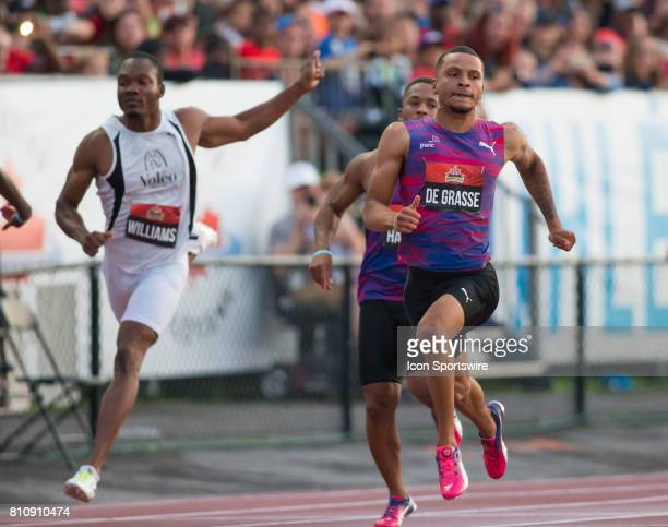 Andre de Grasse winning the 100m title at the Canadian Track and Field Championships onJuly 07 2017 at the Terry Fox Athletic Facility in Ottawa...