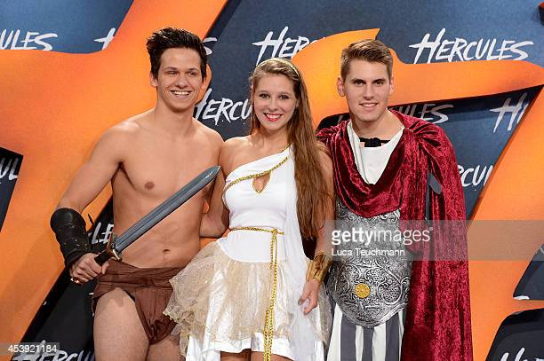 Andre Demleitner Michelle Hoffmann and Alexander Gratzer attend the European premiere of the film 'Hercules' at CineStar on August 21 2014 in Berlin...