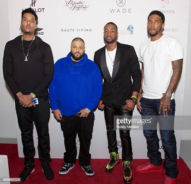 Andre 'Dre' Christopher DJ Khalid Dwyane Wade and Udonis Haslem attends Haute Living and The Webster event hosted by Dwyane Wade and footwear...