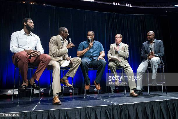 Andre Drummond and former Detroit Pistons Rick Mahorn and Lindsey Hunter speak at Detroit Piston Draft Night presented by Coors Light on June 25 2015...