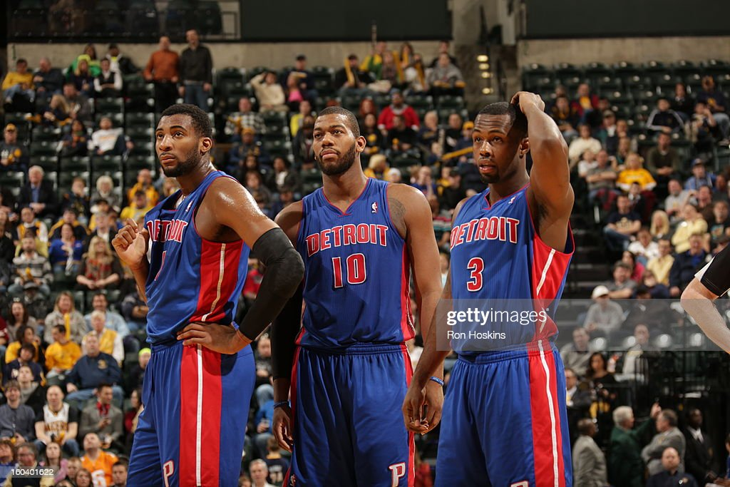<a gi-track='captionPersonalityLinkClicked' href=/galleries/search?phrase=Andre+Drummond&family=editorial&specificpeople=7122456 ng-click='$event.stopPropagation()'>Andre Drummond</a> #1, <a gi-track='captionPersonalityLinkClicked' href=/galleries/search?phrase=Greg+Monroe&family=editorial&specificpeople=5042440 ng-click='$event.stopPropagation()'>Greg Monroe</a> #10, and <a gi-track='captionPersonalityLinkClicked' href=/galleries/search?phrase=Rodney+Stuckey&family=editorial&specificpeople=4375687 ng-click='$event.stopPropagation()'>Rodney Stuckey</a> #3 of the Detroit Pistons look on during a break in play against the Indiana Pacers on January 30, 2013 at Bankers Life Fieldhouse in Indianapolis, Indiana.