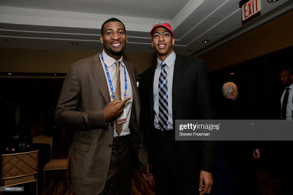 Andre Drummond of the Detroit Pistons and Anthony Davis of the New Orleans Pelicans poses for a photo during a reception for the 2013 NBA Draft Lottery on May 21, 2013 at the Millennium Hotel in New York City.