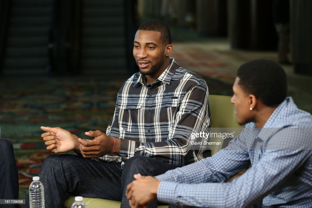Andre Drummond #1 of the Detroit Pistons and Bradley Beal #3 of the Washington Wizards participate in the Rookie Roundtable as part of the 2013 NBA All-Star Weekend at the Hilton Americas Hotel on February 14, 2013 in Houston, Texas.