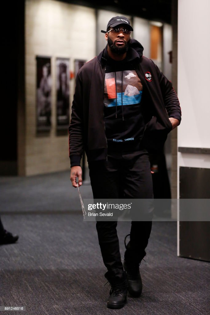 Andre Drummond #0 of the Detroit Pistons arrives before the game against the Denver Nuggets on December 12, 2017 at Little Caesars Arena in Detroit, Michigan.