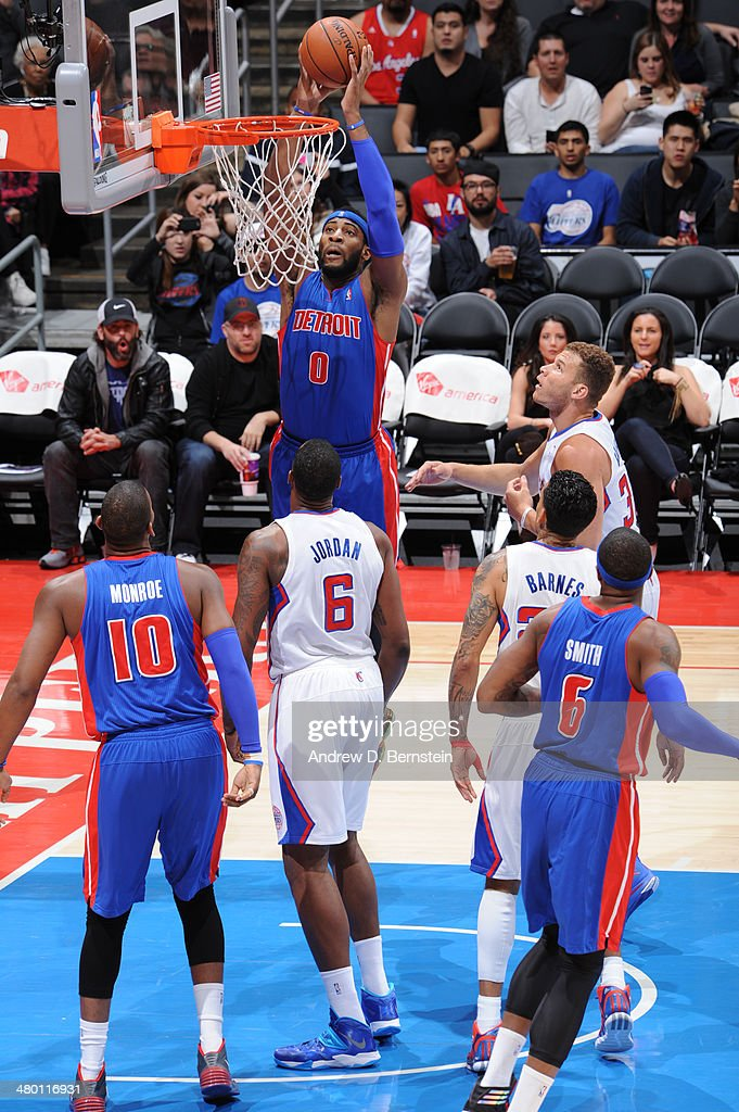 Andre Drummond #0 of the Detroit Pistons attempts a dunk during a game against the Los Angeles Clippers at STAPLES Center on March 22, 2014 in Los Angeles, California.