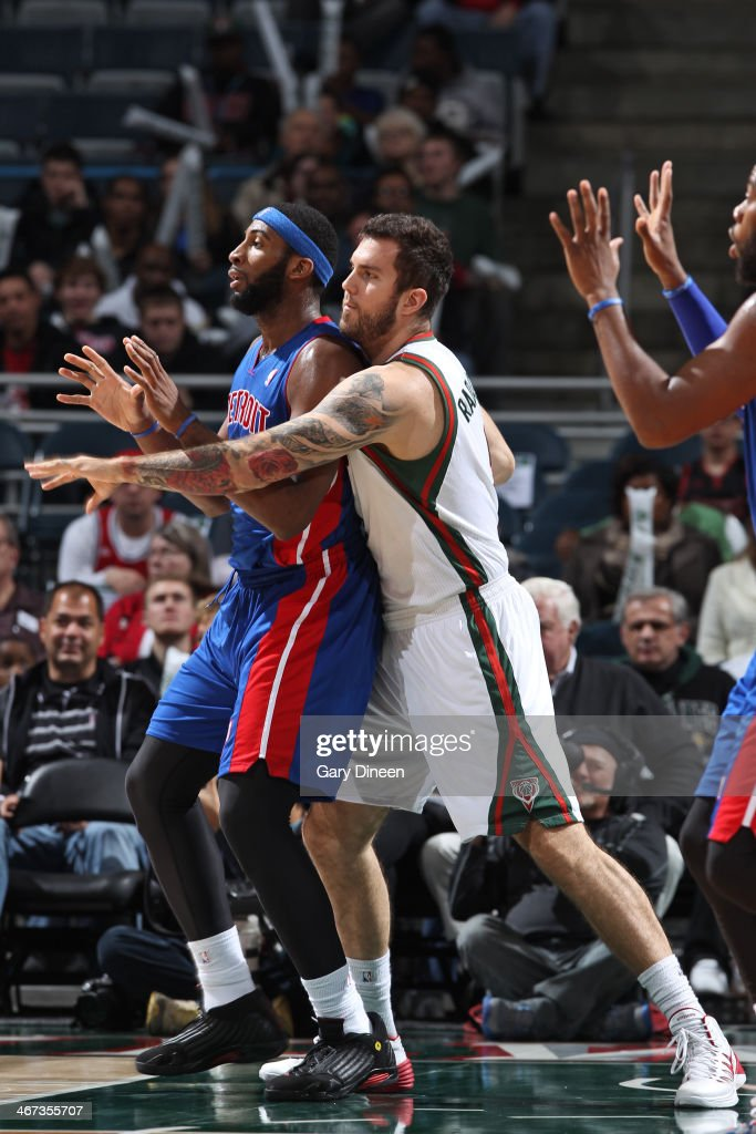<a gi-track='captionPersonalityLinkClicked' href=/galleries/search?phrase=Andre+Drummond&family=editorial&specificpeople=7122456 ng-click='$event.stopPropagation()'>Andre Drummond</a> #0 of the Detroit Pistons battles for position against <a gi-track='captionPersonalityLinkClicked' href=/galleries/search?phrase=Miroslav+Raduljica&family=editorial&specificpeople=5441563 ng-click='$event.stopPropagation()'>Miroslav Raduljica</a> #9 of the Milwaukee Bucks on December 4, 2013 at the BMO Harris Bradley Center in Milwaukee, Wisconsin.