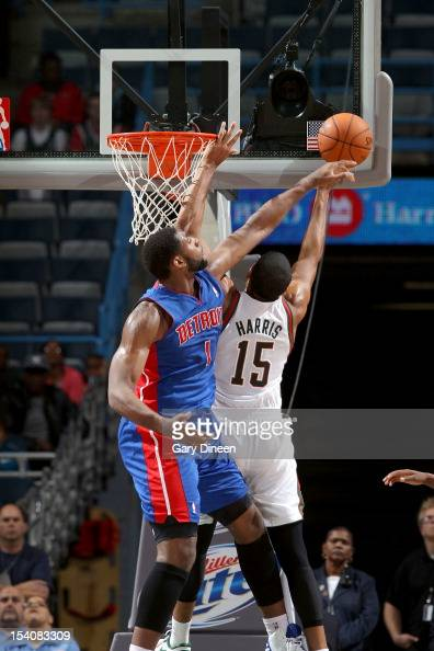 Andre Drummond of the Detroit Pistons blocks a shot by Tobias Harris of the Milwaukee Bucks during the NBA preseason game on October 13 2012 at the...