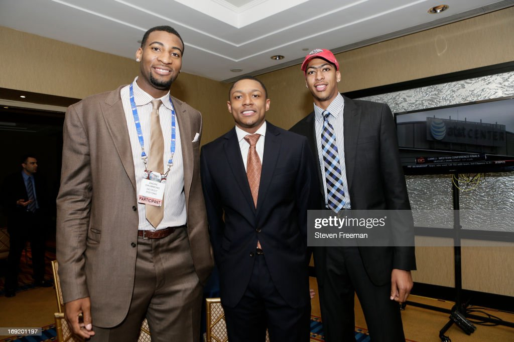 Andre Drummond of the Detroit Pistons, Bradley Beal of the Washington Wizards, and Anthony Davis of the New Orleans Pelicans poses for a photo during a reception for the 2013 NBA Draft Lottery on May 21, 2013 at the Millennium Hotel in New York City.