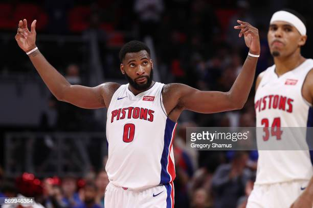 Andre Drummond of the Detroit Pistons celebrates a 10596 win over the Milwaukee Bucks at Little Caesars Arena on November 3 2017 in Detroit Michigan...