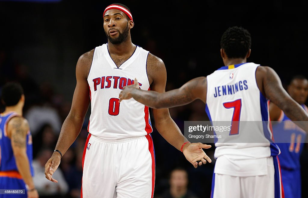 <a gi-track='captionPersonalityLinkClicked' href=/galleries/search?phrase=Andre+Drummond&family=editorial&specificpeople=7122456 ng-click='$event.stopPropagation()'>Andre Drummond</a> #0 of the Detroit Pistons celebrates a first half basket with <a gi-track='captionPersonalityLinkClicked' href=/galleries/search?phrase=Brandon+Jennings+-+Basket&family=editorial&specificpeople=6022589 ng-click='$event.stopPropagation()'>Brandon Jennings</a> #7 while playing the New York Knicks at the Palace of Auburn Hills on November 5, 2014 in Auburn Hills, Michigan. Detroit won the game 98-95.