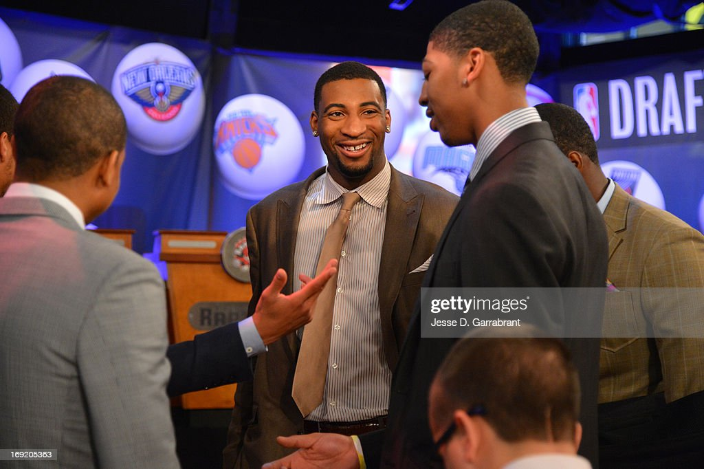 Andre Drummond of the Detroit Pistons chats with Anthony Davis of the New Orleans Pelicans at the 2013 NBA Draft Lottery on May 21, 2013 at the ABC News' 'Good Morning America' Times Square Studio in New York City.