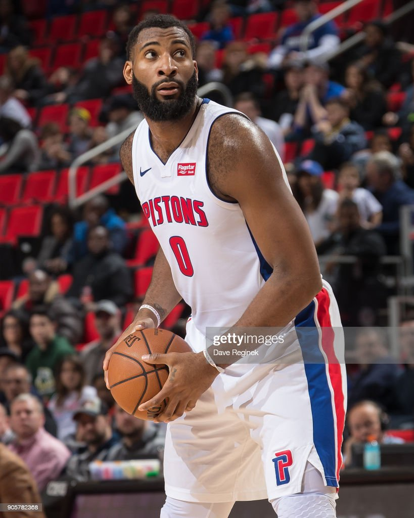 Andre Drummond #0 of the Detroit Pistons controls the ball during the an NBA game against the Charlotte Hornets at Little Caesars Arena on January 15, 2018 in Detroit, Michigan.