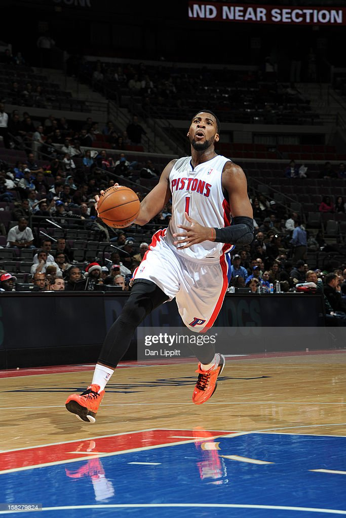 <a gi-track='captionPersonalityLinkClicked' href=/galleries/search?phrase=Andre+Drummond&family=editorial&specificpeople=7122456 ng-click='$event.stopPropagation()'>Andre Drummond</a> #1 of the Detroit Pistons drives to the basket against the Denver Nuggets on December 11, 2012 at The Palace of Auburn Hills in Auburn Hills, Michigan.