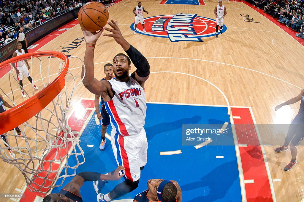 Andre Drummond #1 of the Detroit Pistons drives to the basket against the Charlotte Bobcats on January 6, 2013 at The Palace of Auburn Hills in Auburn Hills, Michigan.