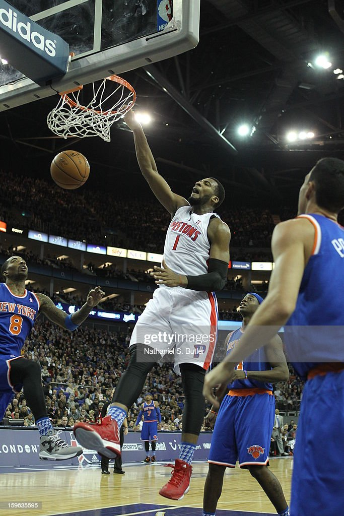 Andre Drummond #1 of the Detroit Pistons dunks against J.R. Smith #8 of the New York Knicks during a game between the New York Knicks and the Detroit Pistons at the 02 Arena on January 17, 2013 in London, England.