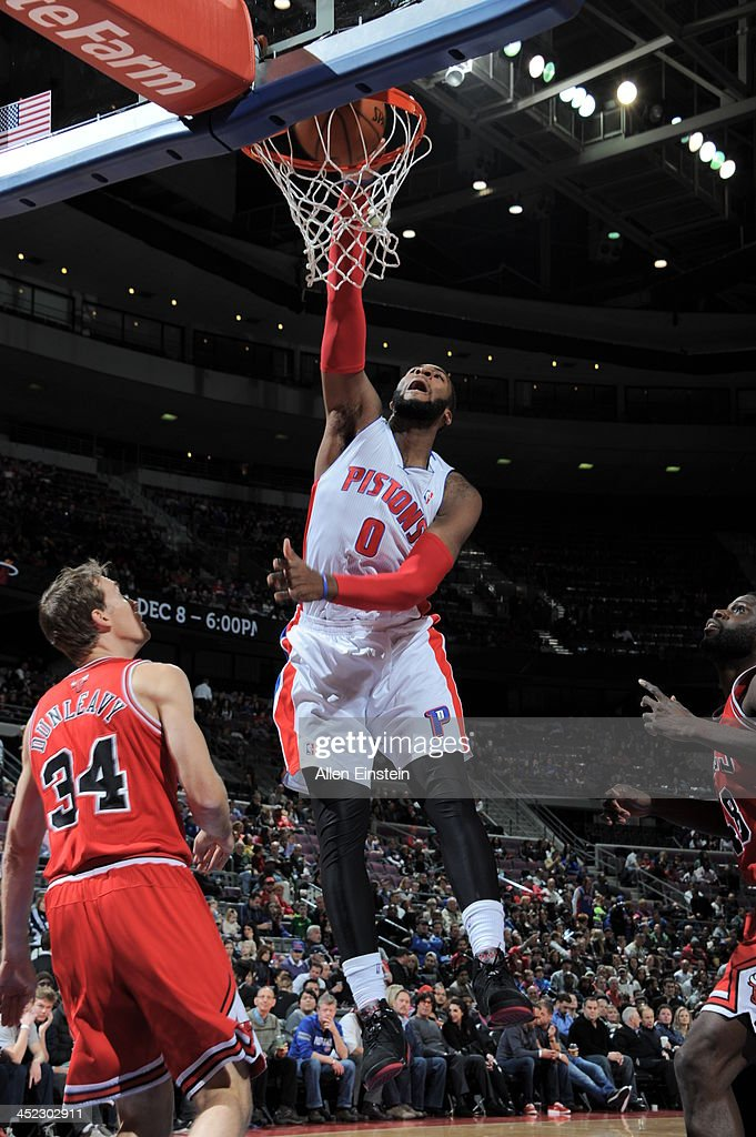 Andre Drummond #0 of the Detroit Pistons dunks against the Chicago Bulls on November 27, 2013 at The Palace of Auburn Hills in Auburn Hills, Michigan.