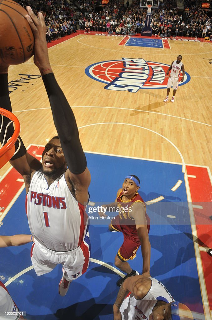 <a gi-track='captionPersonalityLinkClicked' href=/galleries/search?phrase=Andre+Drummond&family=editorial&specificpeople=7122456 ng-click='$event.stopPropagation()'>Andre Drummond</a> #1 of the Detroit Pistons dunks against the Cleveland Cavaliers on February 1, 2013 at The Palace of Auburn Hills in Auburn Hills, Michigan.