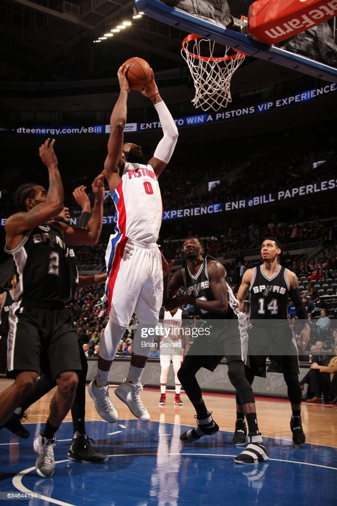 Andre Drummond #0 of the Detroit Pistons dunks against the San Antonio Spurs on February 10, 2017 at The Palace of Auburn Hills in Auburn Hills, Michigan.