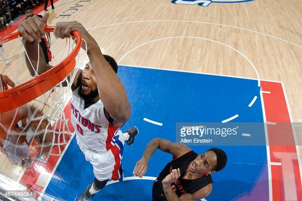 Andre Drummond of the Detroit Pistons dunks against the Toronto Raptors during the game on March 24 2015 at The Palace of Auburn Hills in Auburn...