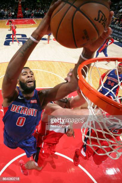 Andre Drummond of the Detroit Pistons dunks the ball during game against the Washington Wizards on October 20 2017 at Capital One Arena in Washington...