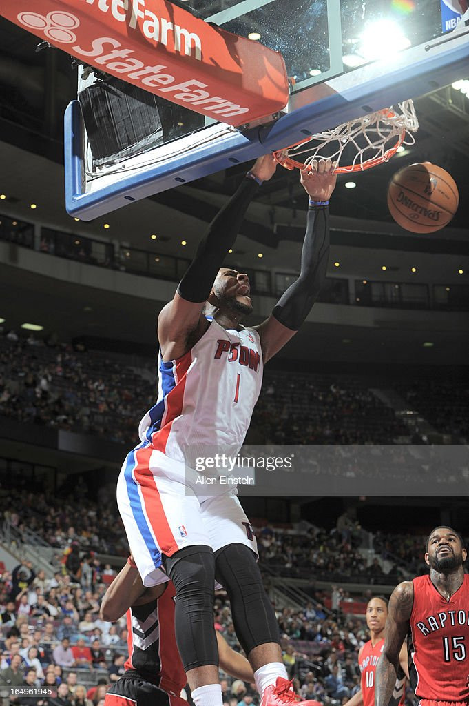 Andre Drummond #1 of the Detroit Pistons dunks the ball during the game between the Detroit Pistons and the Toronto Raptors on March 29, 2013 at The Palace of Auburn Hills in Auburn Hills, Michigan.