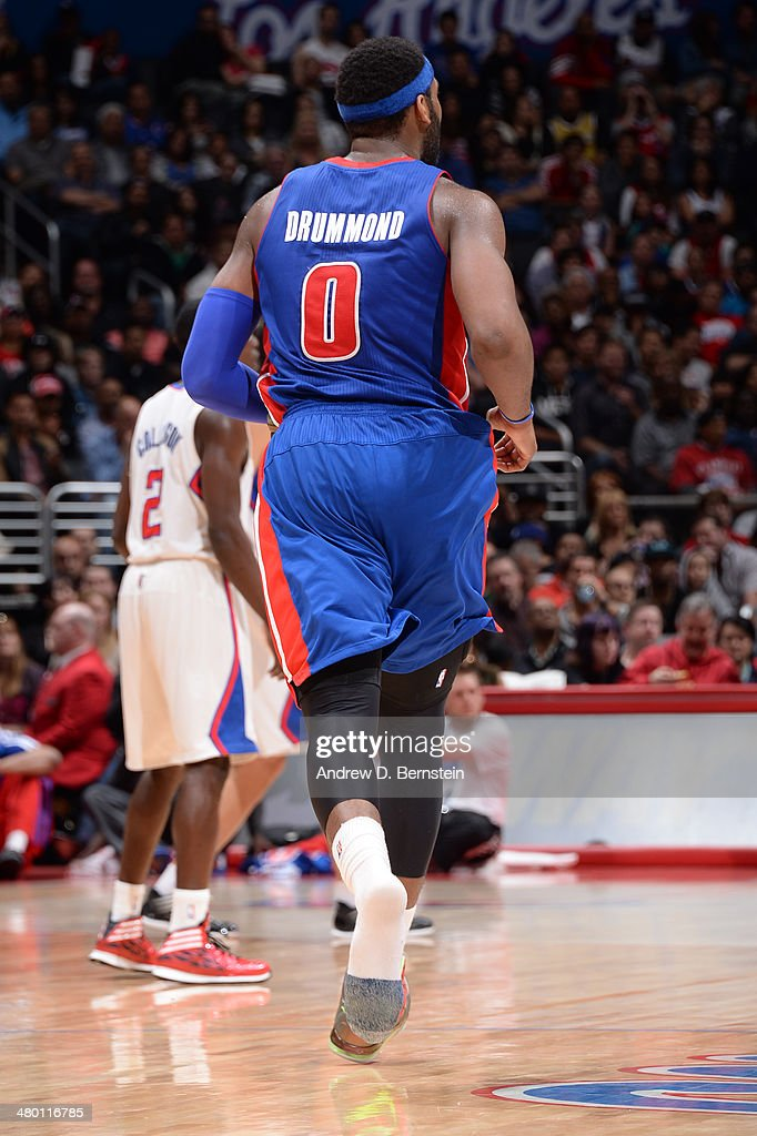 Andre Drummond #0 of the Detroit Pistons during a game against the Los Angeles Clippers at STAPLES Center on March 22, 2014 in Los Angeles, California.