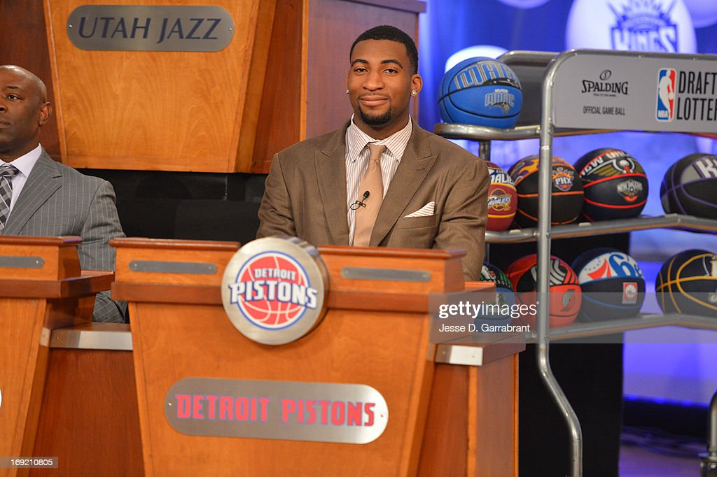 Andre Drummond of the Detroit Pistons during the 2013 NBA Draft Lottery on May 21, 2013 at the ABC News' 'Good Morning America' Times Square Studio in New York City.