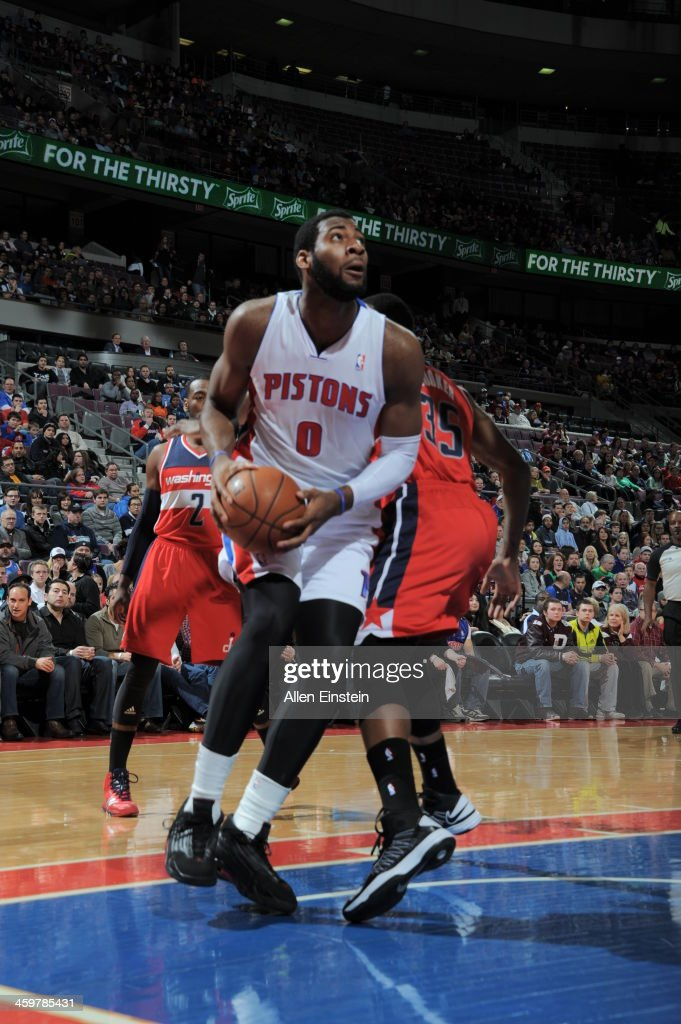 ... Jersey Andre Drummond 0 of the Detroit Pistons goes to the basket  against the Washington Wizards NBA ... f782e849b