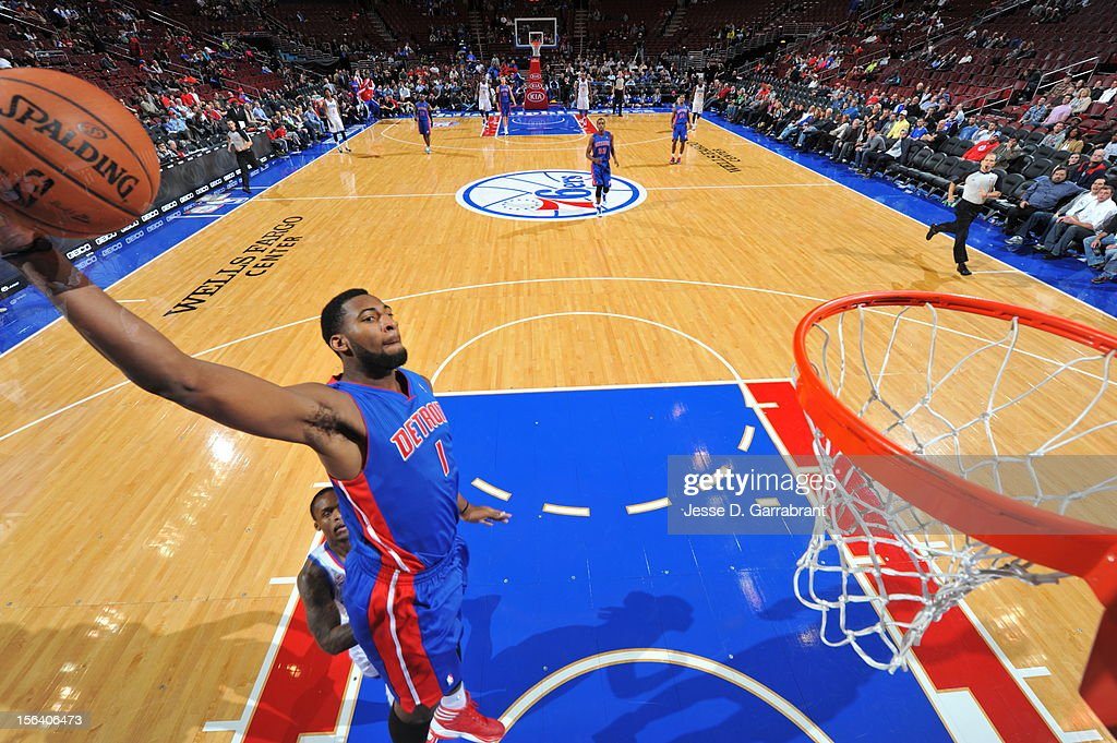 Andre Drummond #1 of the Detroit Pistons goes to the basket during the game between Detroit Pistons and the Philadelphia 76ers at the Wells Fargo Center on November 14, 2012 in Philadelphia, Pennsylvania.