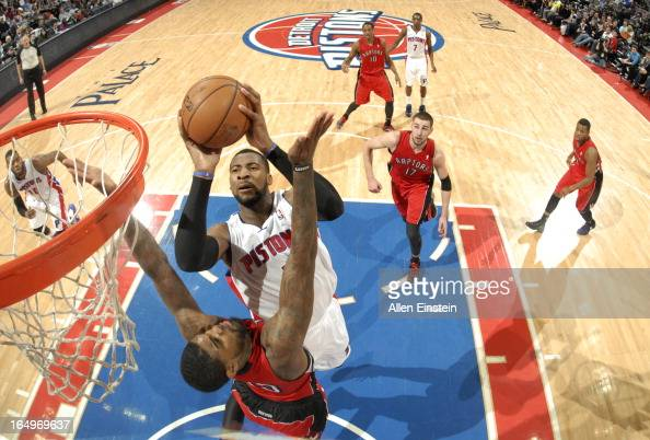 Andre Drummond of the Detroit Pistons goes to the basket during the game between the Detroit Pistons and the Toronto Raptors on March 29 2013 at The...