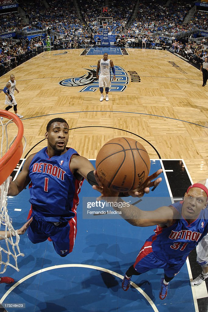 <a gi-track='captionPersonalityLinkClicked' href=/galleries/search?phrase=Andre+Drummond&family=editorial&specificpeople=7122456 ng-click='$event.stopPropagation()'>Andre Drummond</a> #1 of the Detroit Pistons goes to the basket during the game between the Detroit Pistons and the Orlando Magic on January 27, 2013 at Amway Center in Orlando, Florida.
