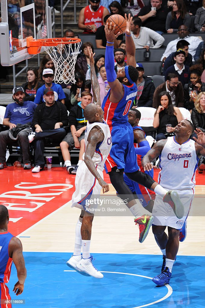 Andre Drummond #0 of the Detroit Pistons goes up for a shot during a game against the Los Angeles Clippers at STAPLES Center on March 22, 2014 in Los Angeles, California.