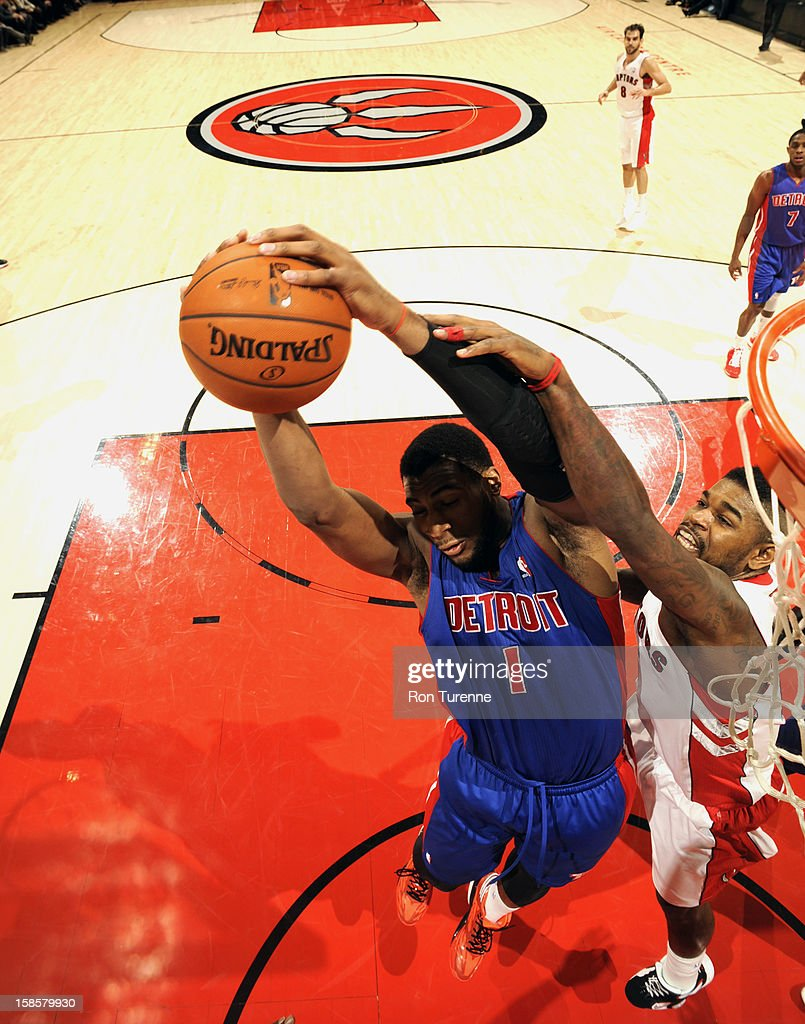 <a gi-track='captionPersonalityLinkClicked' href=/galleries/search?phrase=Andre+Drummond&family=editorial&specificpeople=7122456 ng-click='$event.stopPropagation()'>Andre Drummond</a> #1 of the Detroit Pistons goes up for the layup against the Toronto Raptors during the game on December 19, 2012 at the Air Canada Centre in Toronto, Ontario, Canada.