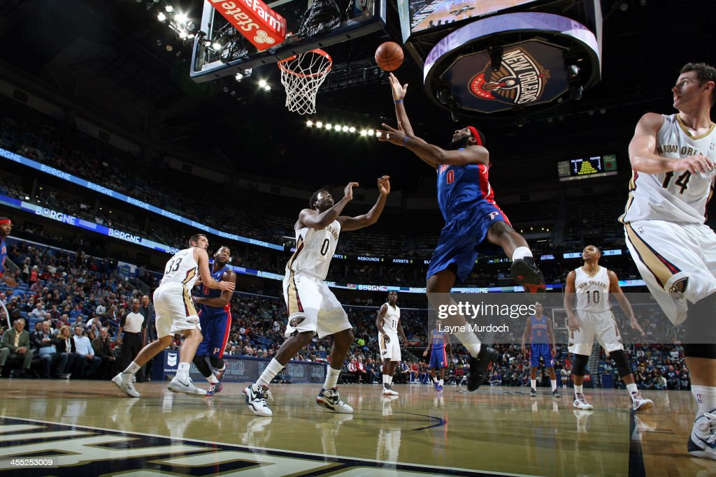 <a gi-track='captionPersonalityLinkClicked' href=/galleries/search?phrase=Andre+Drummond&family=editorial&specificpeople=7122456 ng-click='$event.stopPropagation()'>Andre Drummond</a> #0 of the Detroit Pistons goes up for the layup against the New Orleans Pelicans during an NBA game on December 11, 2013 at the New Orleans Arena in New Orleans, Louisiana.