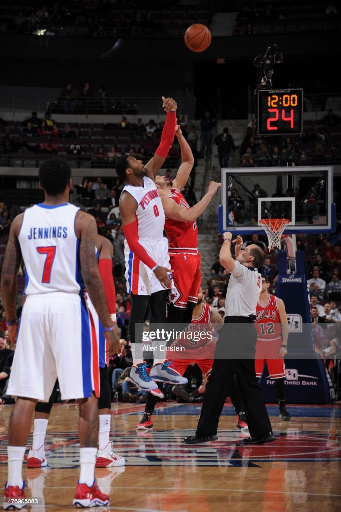 <a gi-track='captionPersonalityLinkClicked' href=/galleries/search?phrase=Andre+Drummond&family=editorial&specificpeople=7122456 ng-click='$event.stopPropagation()'>Andre Drummond</a> #0 of the Detroit Pistons goes up for the opening tip-off against the Chicago Bulls during the game on March 5, 2014 at The Palace of Auburn Hills in Auburn Hills, Michigan.