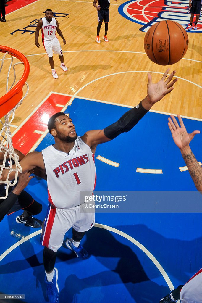 Andre Drummond #1 of the Detroit Pistons grabs a rebound against the Charlotte Bobcats on January 6, 2013 at The Palace of Auburn Hills in Auburn Hills, Michigan.