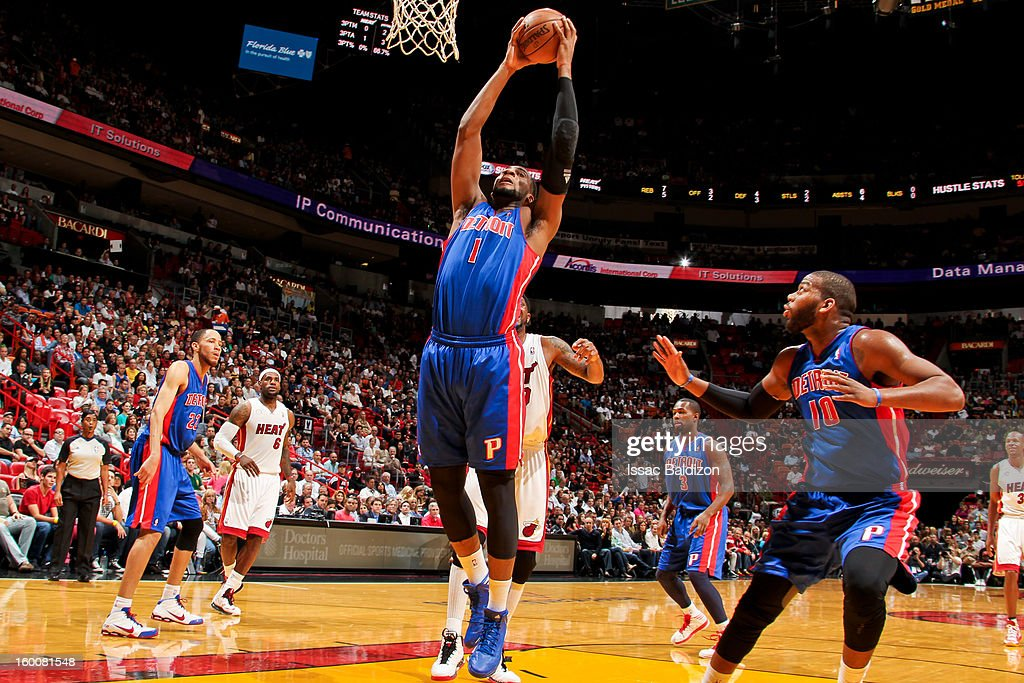 Andre Drummond #1 of the Detroit Pistons grabs a rebound against the Miami Heat on January 25, 2013 at American Airlines Arena in Miami, Florida.
