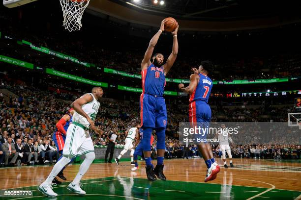 Andre Drummond of the Detroit Pistons grabs a rebound against the Boston Celtics on November 27 2017 at the TD Garden in Boston Massachusetts NOTE TO...