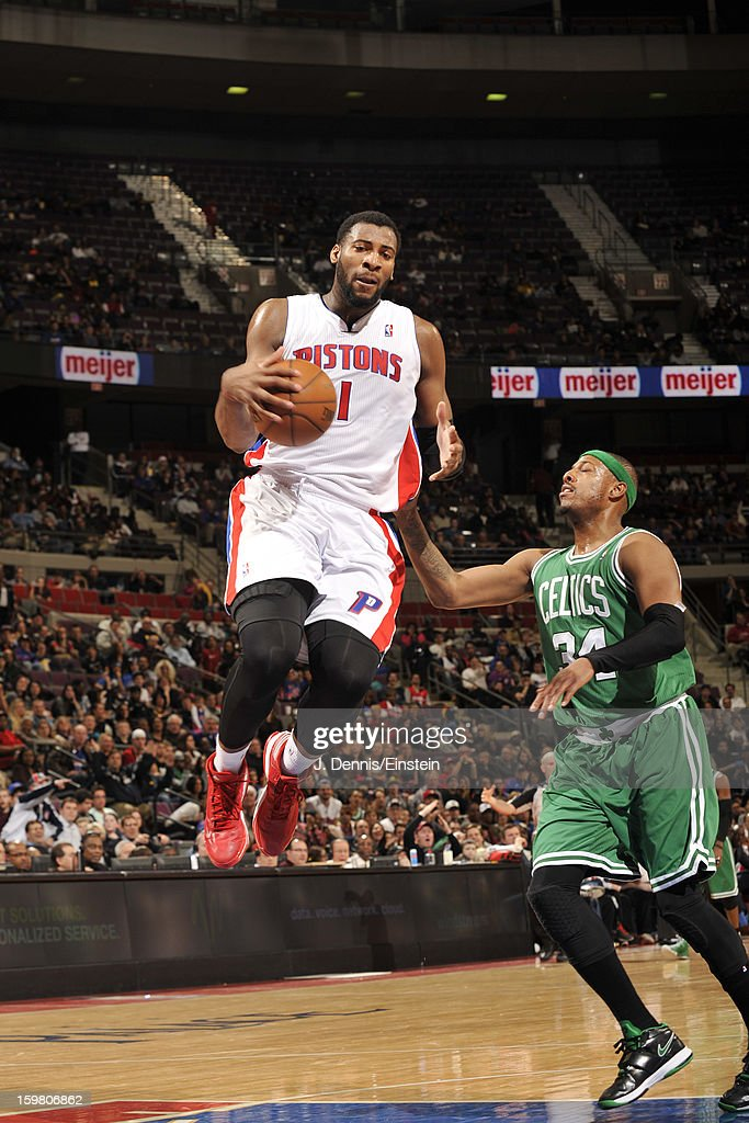 Andre Drummond #1 of the Detroit Pistons grabs the ball against Paul Pierce #34 of the Boston Celtics on January 20, 2013 at The Palace of Auburn Hills in Auburn Hills, Michigan.
