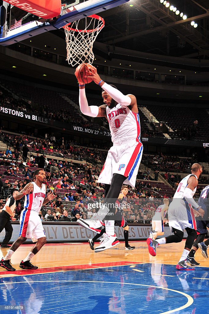<a gi-track='captionPersonalityLinkClicked' href=/galleries/search?phrase=Andre+Drummond&family=editorial&specificpeople=7122456 ng-click='$event.stopPropagation()'>Andre Drummond</a> #0 of the Detroit Pistons grabs the rebound against the Atlanta Hawks on November 22, 2013 at The Palace of Auburn Hills in Auburn Hills, Michigan.