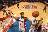 Andre Drummond of the Detroit Pistons grabs the rebound against the Milwaukee Bucks on December 4 2015 at The Palace of Auburn Hills in Auburn Hills...