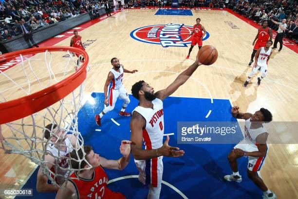 Andre Drummond of the Detroit Pistons grabs the rebound against the Toronto Raptors on April 5 2017 at The Palace of Auburn Hills in Auburn Hills...
